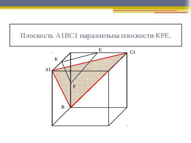 Плоскость А1ВС1 параллельна плоскости КРЕ.