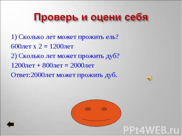 1) Сколько лет может прожить ель? 1) Сколько лет может прожить ель? 600лет х 2 = 1200лет 2) Сколько лет может прожить дуб? 1200лет + 800лет = 2000лет Ответ:2000лет может прожить дуб.