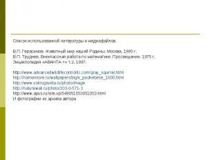 Список использованной литературы и медиафайлов. Список использованной литературы