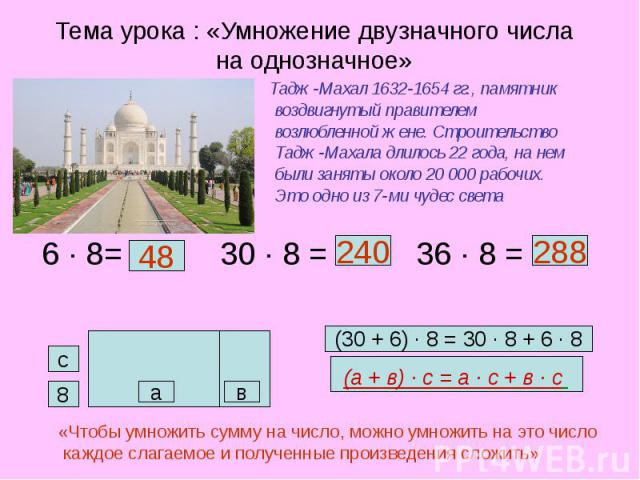 Тема урока : «Умножение двузначного числа на однозначное» Тадж-Махал 1632-1654 гг., памятник воздвигнутый правителем возлюбленной жене. Строительство Тадж-Махала длилось 22 года, на нем были заняты около 20 000 рабочих. Это одно из 7-ми чудес света