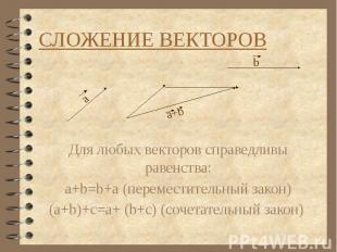 СЛОЖЕНИЕ ВЕКТОРОВ Для любых векторов справедливы равенства: a+b=b+a (переместите