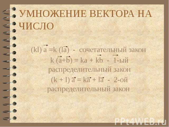УМНОЖЕНИЕ ВЕКТОРА НА ЧИСЛО (kl) a =k (la) - сочетательный закон k (a+b) = ka + kb - 1-ый распределительный закон (k + l) a = ka + la - 2-ой распределительный закон