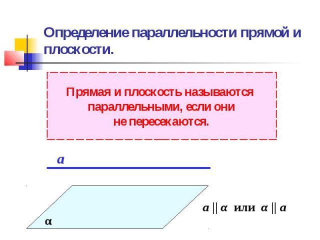 Определение параллельности прямой и плоскости.