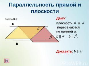Дано: Дано: плоскости и пересекаются по прямой а. b || , b || . Доказать: b || a