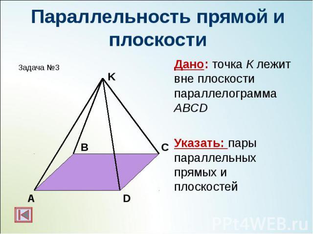 Дано: точка К лежит вне плоскости параллелограмма ABCD Дано: точка К лежит вне плоскости параллелограмма ABCD Указать: пары параллельных прямых и плоскостей