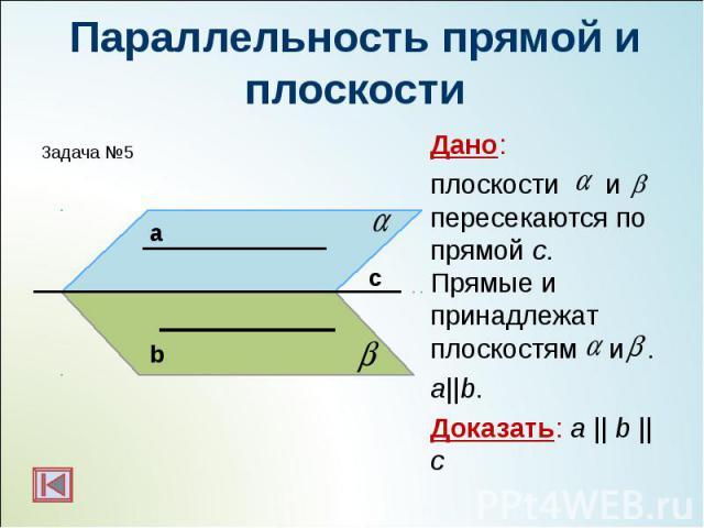 Дано: Дано: плоскости и пересекаются по прямой с. Прямые и принадлежат плоскостям и . a||b. Доказать: a || b || c