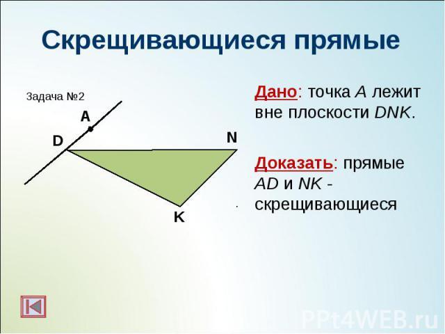 Дано: точка А лежит вне плоскости DNK. Дано: точка А лежит вне плоскости DNK. Доказать: прямые AD и NK - скрещивающиеся