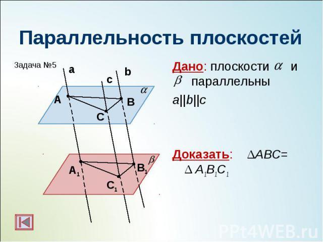 Дано: плоскости и параллельны Дано: плоскости и параллельны a||b||c Доказать: ΔАВС= Δ А1В1С1