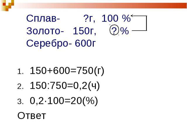 150+600=750(г) 150+600=750(г) 150:750=0,2(ч) 0,2·100=20(%) Ответ