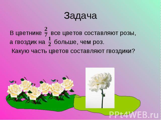 В цветнике все цветов составляют розы, В цветнике все цветов составляют розы, а гвоздик на больше, чем роз. Какую часть цветов составляют гвоздики?