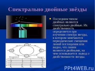 Последним типом двойных являются спектрально двойные. Их двойственность определя
