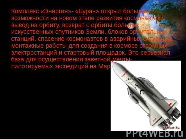 Комплекс «Энергия»- «Буран» открыл большие возможности на новом этапе развития космонавтики: вывод на орбиту, возврат с орбиты больших искусственных спутников Земли, блоков орбитальных станций, спасение космонавтов в аварийных ситуациях, монтажные р…