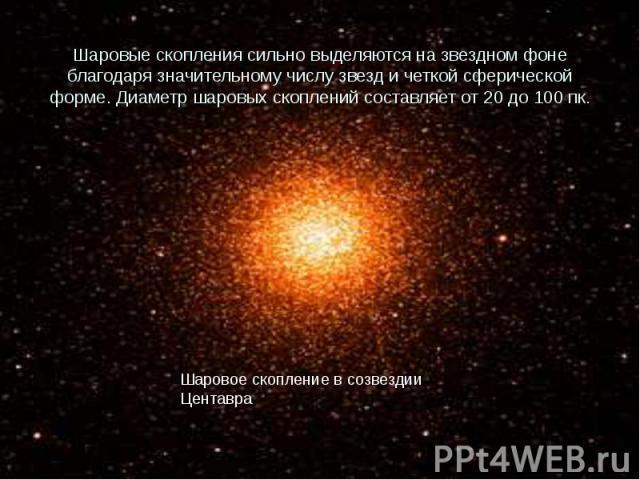 Шаровые скопления сильно выделяются на звездном фоне благодаря значительному числу звезд и четкой сферической форме. Диаметр шаровых скоплений составляет от 20 до 100 пк.