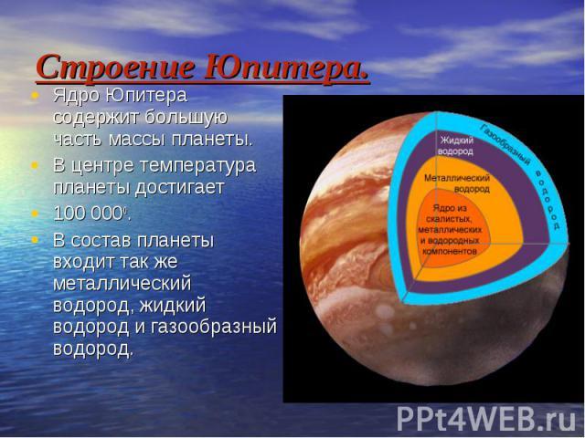 Строение Юпитера. Ядро Юпитера содержит большую часть массы планеты. В центре температура планеты достигает 100 0000. В состав планеты входит так же металлический водород, жидкий водород и газообразный водород.
