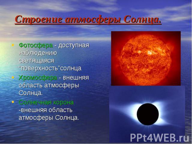"""Строение атмосферы Солнца. Фотосфера - доступная наблюдению светящаяся """"поверхность""""солнца Хромосфера - внешняя область атмосферы Солнца. Солнечная корона -внешняя область атмосферы Солнца."""