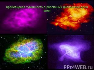 Крабовидная туманность в различных диапазонах длин волн