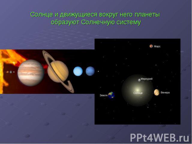 Солнце и движущиеся вокруг него планеты образуют Солнечную систему