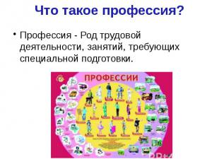 Что такое профессия? Профессия - Род трудовой деятельности, занятий, требующих с
