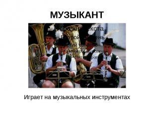 МУЗЫКАНТ Играет на музыкальных инструментах