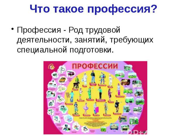 Что такое профессия? Профессия - Род трудовой деятельности, занятий, требующих специальной подготовки.