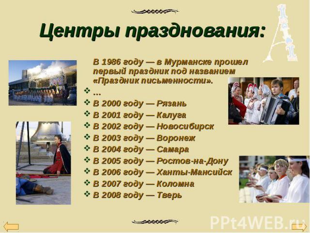 В 1986 году — в Мурманске прошел первый праздник под названием «Праздник письменности». В 1986 году — в Мурманске прошел первый праздник под названием «Праздник письменности». … В 2000 году — Рязань В 2001 году — Калуга В 2002 году — Новосибирск В 2…