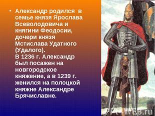Александр родился в семье князя Ярослава Всеволодовича и княгини Феодосии, дочер