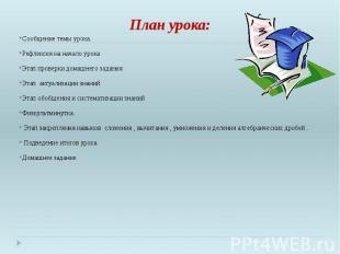 План урока: Сообщение темы урока. Рефлексия на начало урока Этап проверки домашн