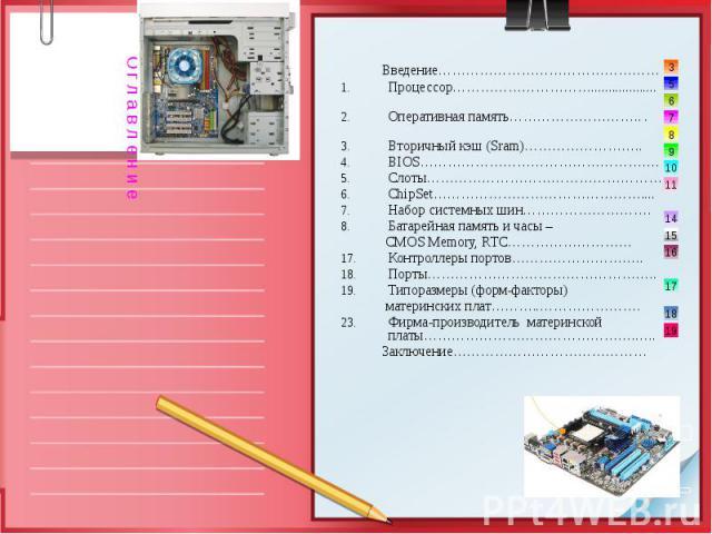 Введение………………………………………… Процессор…………………………................... Оперативная память……………………….. . Вторичный кэш (Sram)…………………….. BIOS……………………………………………. Слоты…………………………………………… ChipSet……………………………………….... Набор системных шин………………………. Батарейная память и…
