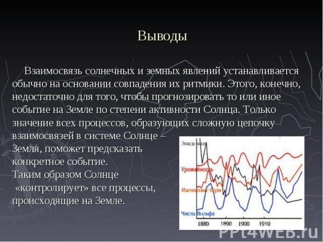 Взаимосвязь солнечных и земных явлений устанавливается обычно на основании совпадения их ритмики. Этого, конечно, недостаточно для того, чтобы прогнозировать то или иное событие на Земле по степени активности Солнца. Только значение всех процессов, …