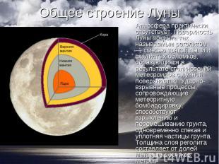 Атмосфера практически отсутствует. Поверхность Луны покрыта так называемым регол