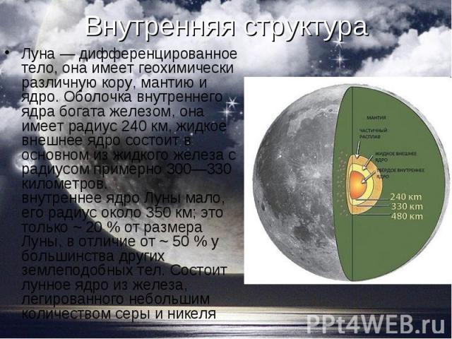 Луна — дифференцированное тело, она имеет геохимически различную кору, мантию и ядро. Оболочка внутреннего ядра богата железом, она имеет радиус 240 км, жидкое внешнее ядро состоит в основном из жидкого железа с радиусом примерно 300—330 километров.…