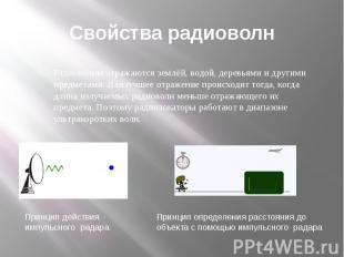 Свойства радиоволн Радиоволны отражаются землёй, водой, деревьями и другими пред