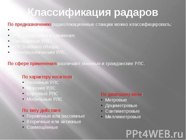 Классификация радаров