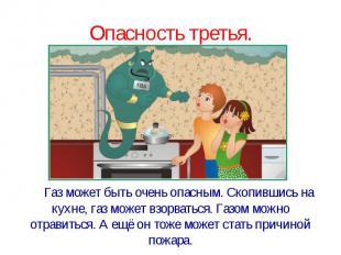 Опасность третья. Газ может быть очень опасным. Скопившись на кухне, газ может в