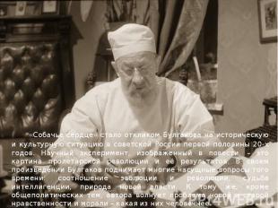 «Собачье сердце» стало откликом Булгакова на историческую и культурную ситуацию