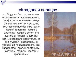 «…Блудово болото, со всеми огромными запасами горючего, торфа, есть кладовая сол