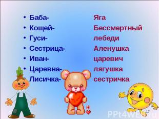 Баба- Баба- Кощей- Гуси- Сестрица- Иван- Царевна- Лисичка-