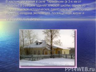 В настоящее время в селе Тараканове (в 3-х км от усадьбы) в бывшем здании земско