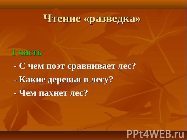 1 часть - С чем поэт сравнивает лес? - Какие деревья в лесу? - Чем пахнет лес?