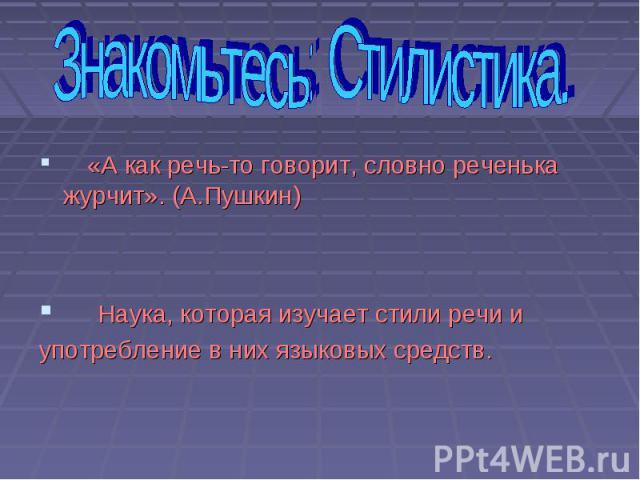 «А как речь-то говорит, словно реченька журчит». (А.Пушкин) Наука, которая изучает стили речи и употребление в них языковых средств.