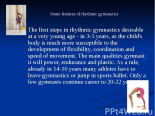 Some features of rhythmic gymnastics The first steps in rhythmic gymnastics desi