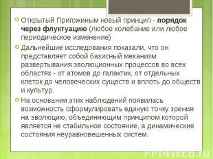 Открытый Пригожиным новый принцип - порядок через флуктуацию (любое колебание ил