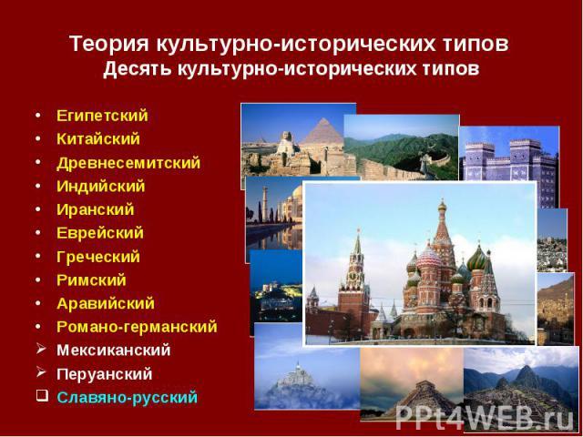 Египетский Египетский Китайский Древнесемитский Индийский Иранский Еврейский Греческий Римский Аравийский Романо-германский Мексиканский Перуанский Славяно-русский
