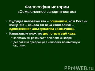 Будущее человечества – социализм, но в России конца XIX – начала XX века капитал