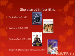 The Bodyguard, 1992 The Bodyguard, 1992 Waiting to Exhale,1995 The Preacher's Wi