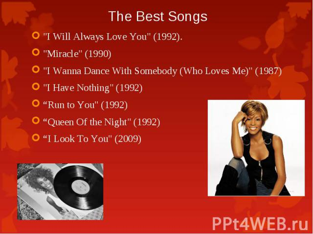 """""""I Will Always Love You"""" (1992). """"I Will Always Love You"""" (1992). """"Miracle"""" (1990) """"I Wanna Dance With Somebody (Who Loves Me)"""" (1987) """"I Have Nothing"""" (1992) """"Run to You"""" (1992) """"Queen Of the N…"""