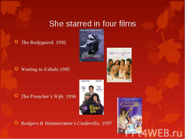 The Bodyguard, 1992 The Bodyguard, 1992 Waiting to Exhale,1995 The Preacher's Wife, 1996 Rodgers & Hammerstein's Cinderella, 1997