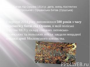 Битва під Оршею 1514 р. дата, князь Костянтин Острозький і Оршанська битва (Оршс