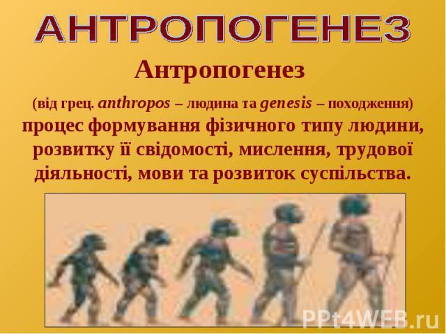Антропогенез (від грец. аnthropos – людина та genesis – походження) процес формування фізичного типу людини, розвитку її свідомості, мислення, трудової діяльності, мови та розвиток суспільства.