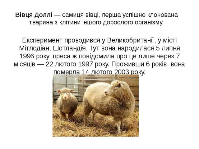 Вівця Доллі — самиця вівці, перша успішно клонована тварина з клітини іншого дорослого організму. Експеримент проводився у Великобританії, у місті Мітлодіан, Шотландія. Тут вона народилася 5 липня 1996 року, преса ж повідомила про це лише через 7 мі…